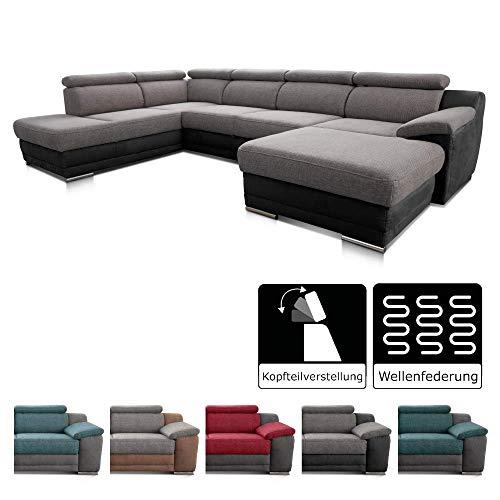 Cavadore Wohnlandschaft Xenit mit Ottomane links und Longchair rechts, U-Form Couch mit Kopfteilverstellung, 338 x 81-94 x 215, Materialmix grau - schwarz