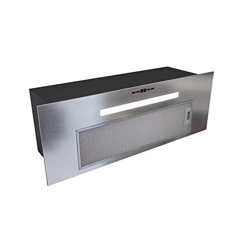 GLOBALO Dunstabzugshaube, Einbauhaube für Küche, Flachlüfter, Fettfilter, Unterbauhaube mit Beleuchtung, Einbaubreite 80 cm, 4 Leistungsstufen, Edelstahl, Agendero 80.2 Inox