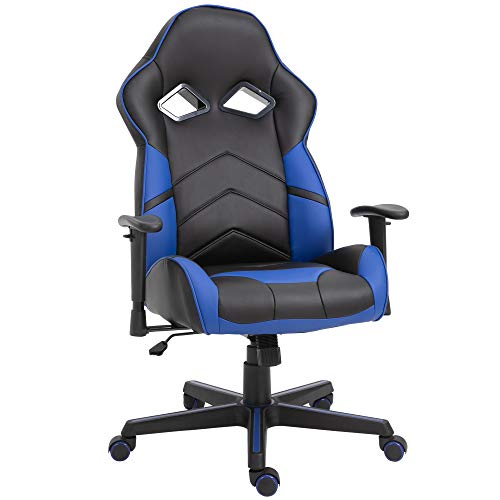 Vinsetto Ergonomic PU Leather Gaming Chair Stylish Blue Panel Swivel w/ 5 Wheels Adjustable Height Armrests Home Office Chair Comfortable Black&Blue