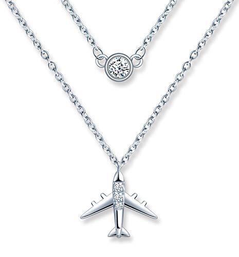 MicLee Collar para mujer y niña de plata de ley 925 con colgante de avión único, circonita incrustada, hermoso colgante mini, doble cadena, plata