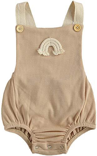 Newborn Infant Baby Boys Girls Summer Clothes Outfits Boho Rainbow Ribbed Sleeveless Romper Jumpsuit Bodysuit (Khaki,6-12 Months)