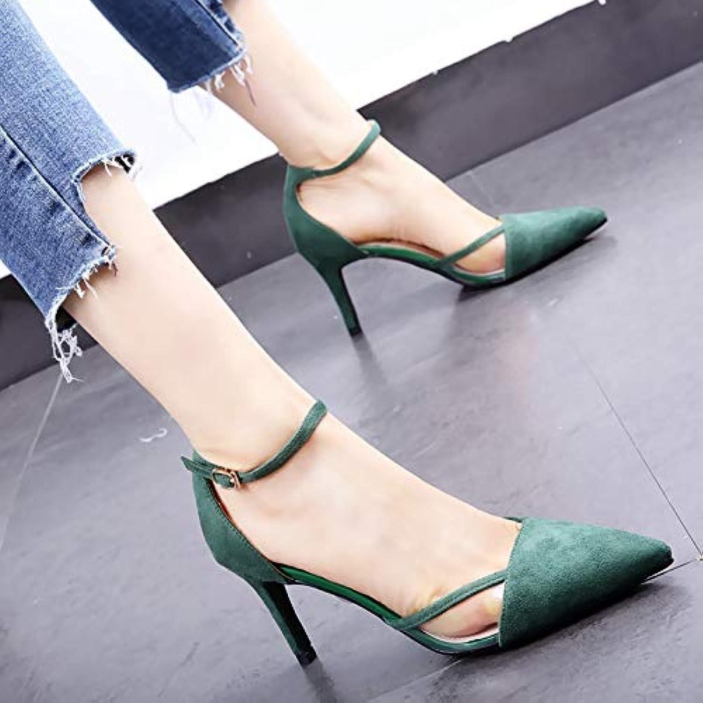 HOESCZS Ein Wort Schnalle transparente Stiletto Stiletto Schuhe 2019 Frühjahr Neue Hohle Spitze einzelne Schuhe flachen Mund High Heels weiblich grün  Professionelles integriertes Online-Einkaufszentrum