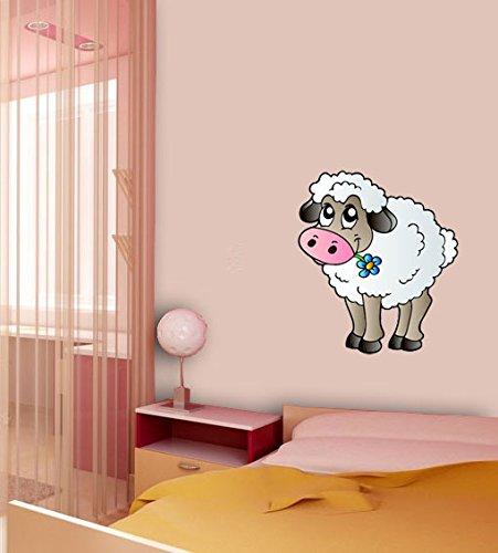 Sticker mural no 895 mouton avec fleur, Dimensions : 53 x 46 cm, mural, sticker mural pour enfants Animaux de la ferme, adhésif