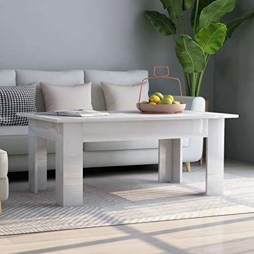 Goliraya Tavolino da caffè Salotto Rettangolare Moderno in Truciolato Bianco/Grigio,Tavolino da Salotto Moderno,Tavolino per Divano Moderno,Tavolino Basso,Tavolino Rettangoalre 100x60x42 cm
