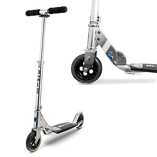 Micro Mobility - Trottinette Flex - Grand Confort de Glisse - Planche Flexible - Grandes Roues - Pliable et 100% Aluminium - Béquille intégrée - Couleur Argent