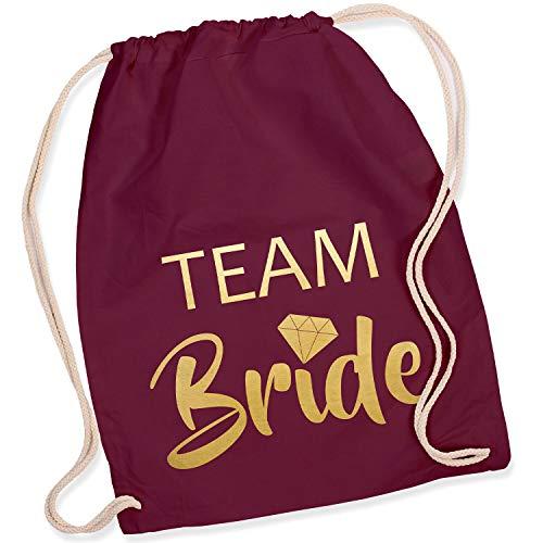 Shirt-Panda Turnbeutel JGA Team Bride/Team Bride mit Diamant Junggesellinnenabschied Team-Braut Tasche Rucksack Team Bride - Weinrot (Druck Gold)