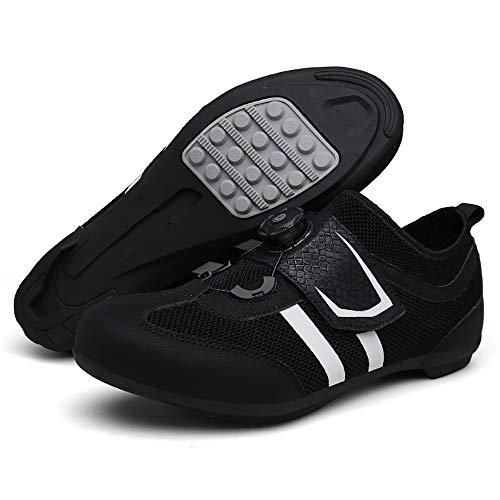 YUJIA Zapatillas de Ciclismo para Carretera Plus, con Suela de y Sistema rotativo de precisión Suela Dura para Zapatos de Montar sin Bloqueo