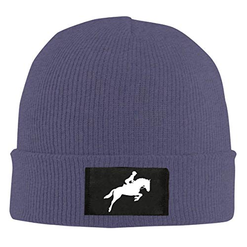 XCNGG Strickmütze aus Unisex-Wolle Women's Horse Riding Silhouette-1 Knitted Cap,Daily Trendy Skiing Cap