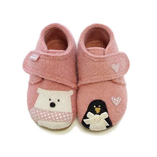Living Kitzbühel Baby Mädchen Babyklettschuh Eisbär & Pinguin in Love Hausschuhe, Pink (ash Rose 0336), 27 EU