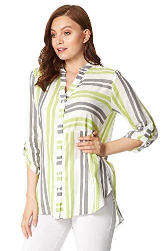Roman Originals Damen Overshirt mit Streifen - Damen Blusen-Shirt mit Kerbausschnitt, 3/4-Arm, lässig, leicht, elegant, Büro, entspannt, bequem, für Urlaub, Frühling, Sommer - Limette - Größe 44