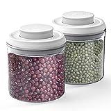 ANVAVA 2 Piezas Bote Cocina Almacenaje 250ML Tarro Hermético PP Material Recipientes para Alimentos Cereales Especias Condimentos Galleta, Blanco