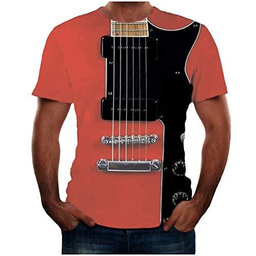 Yowablo Tshirt Homme T-Shirt Tee Shirt T-Shirt Manche Courte T Shirt Tee Shirts T-Shirts Tops Hommes Mode Drôle Guitare T-Shirt Imprimé 3D Cool Été Manches Courtes (XXL,1Rouge)