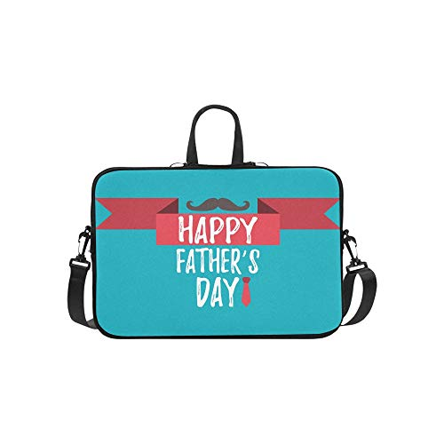 Laptop Sleeve Happy Fathers Day Banner Giftcard Best Waterproof Laptop Shoulder Messenger Bag Pouch Bag Case Tote with Handle Fits 14 Inch Netbook /