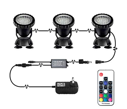 Pond Lights Remote Control Submersible Lamp IP68 Totally Full Waterproof Underwater Aquarium Spotlight 36-LED Multicolor Decoration Landscape Lamp for Swimming Pool Fish Tank Fountain (Set of 3)