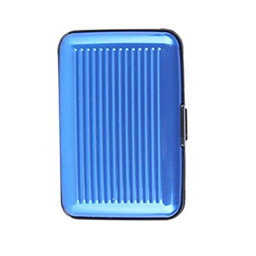 Tarjetero de aluminio – Ideal como tarjetero y tarjetas de visita – Funda NFC y RFID – Protege tus tarjetas de crédito de lectura no autorizada – para hombre y mujer, azul (Azul) - 20200923-01