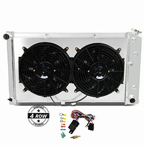 CoolingSky 4 Row Aluminum Radiator +2X12' Fan +Shroud&Thermostat Relay Kit for 1973-86 Chevy/GMC C/K Series,1971-90...