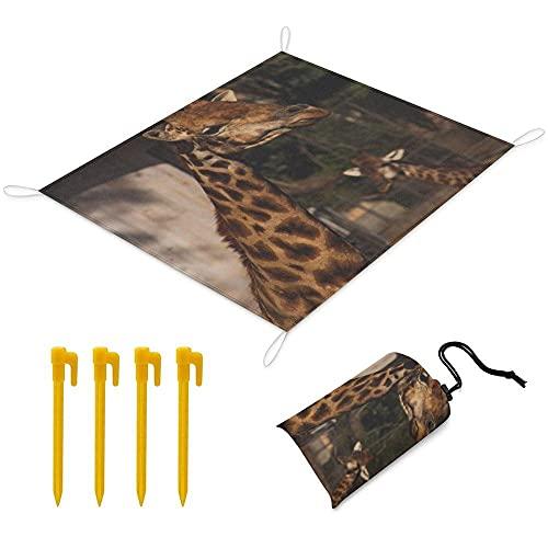 Manta Picnic 200x145 cm Alfombra de Playa con 1 Bolsas y 4 Clavos Fijos Impermeable Plegable Camping Accesorios para la Playa Camping y Picnic - Jirafa
