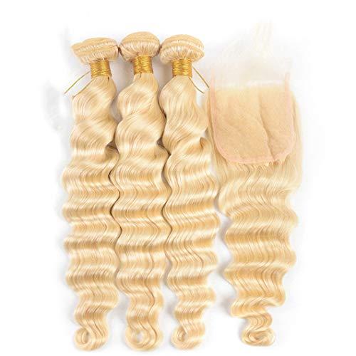613 Blonde 3 Bundles With Closure Loose Deep Wave Bundles With Closure 4X4 Swiss Lace Brazilian Remy Human Hair Bundles #613 22 24 24 & Closure18