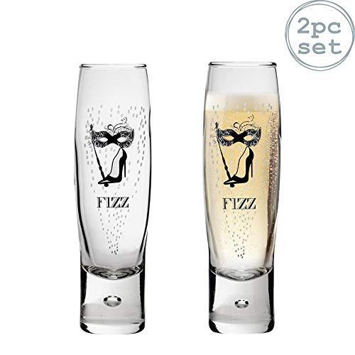 Durobor Flûtes à champagnes - Motif Fizz Femme - 150 ML - Lot de 2