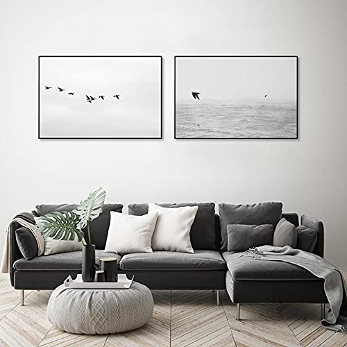 KELEQI Minimalistische Leinwand Malerei Asuka Möwe Schwarz-Weiß-Wandkunst Poster Nordic Home Decoration Wohnzimmer Home Decor (70x100cm) X2 Rahmenlos