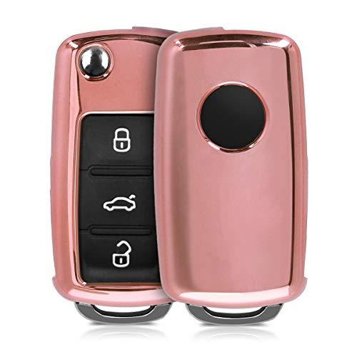 kwmobile Autoschlüssel Hülle kompatibel mit VW Skoda Seat 2-3-Tasten Autoschlüssel - TPU Schutzhülle Schlüsselhülle Cover in Hochglanz Rosegold