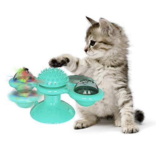 Nincee Katze Interaktion Spinner Spielzeug, Mit LED-Blitzlicht und Katzenminze Kreativer transparenter Windmühlen-Drehteller Katze Molar/Massage Spielzeug (Blau)