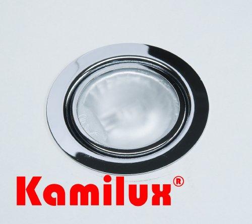 Möbel Einbaustrahler 12V inklusive Halogenleuchtmittel dimmbar in 20 Watt AMP Stecker und Kabel Farbe: chrom