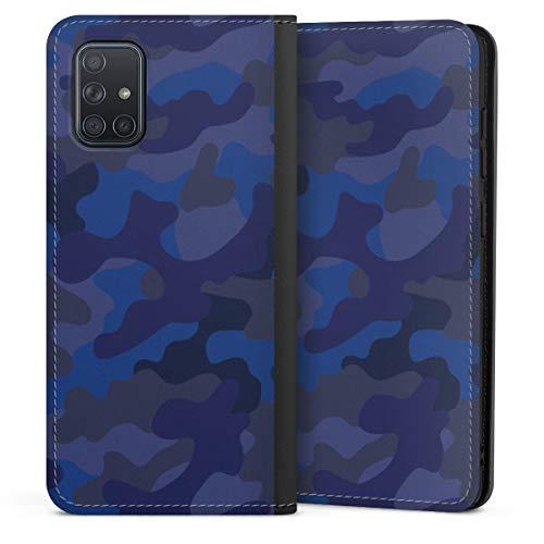 DeinDesign Klapphülle kompatibel mit Samsung Galaxy A71 Flip Case Handyhülle aus Leder schwarz Camouflage Bundeswehr Men Style