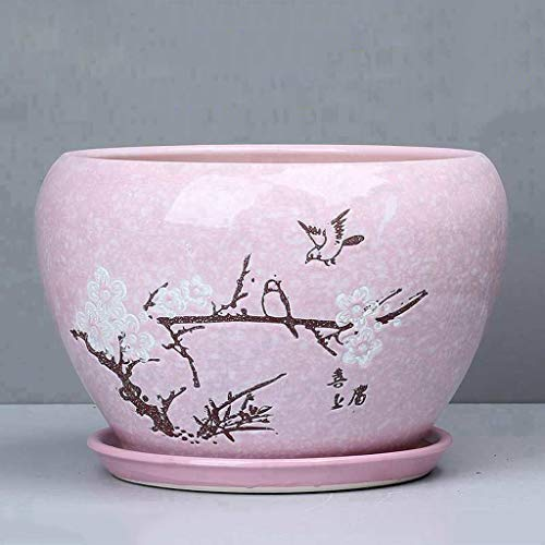 PLL Dessin coloré Pot de Fleur en céramique Rose Absorbant Respirant Pot de Fleur Simple Balcon Pot de Fleur Domestique (Size : XL)