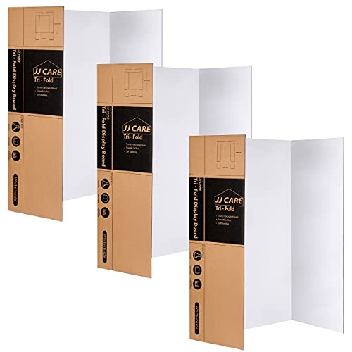 JJ CARE Heavy-Duty Trifold Poster Board 36' x 48' Trifold Presentation Board [Pack of 3] Corrugated Cardboard Panel - Trifold Board for Art Projects and Science Fair Board