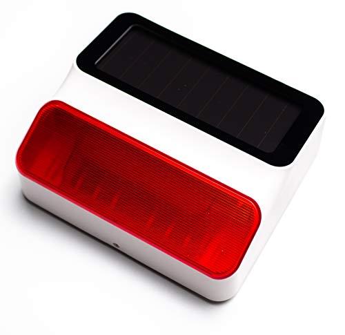 Sirena Solar para Exteriores con Sonido de 100 dB | Inalámbrica con Batería 2200 mAh - Válida para usar como sistema de Alarma Autónomo o adicional a alarma THI