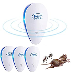Nitoer Repelente Ultrasónico de Plagas, Mosquitos ultrasónicos portátiles 100% Seguro para Personas y Animales, para Ratones, pulgas, Mosquitos, cucarachas, Hormigas, arañas [No Tóxico]
