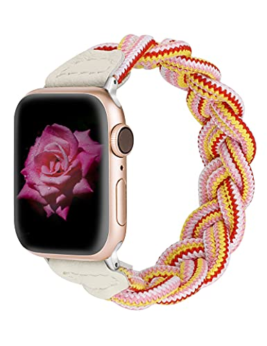 Wearlizer Compatible with Apple Watch Bands 42mm 44mm Slim Elastic Braided Women Strap Wristband Stretchy Woven Replacement Bracelet Accessories for iWatch Series SE 6 5 4 3 2 1 (Pink Red Yellow, XS)
