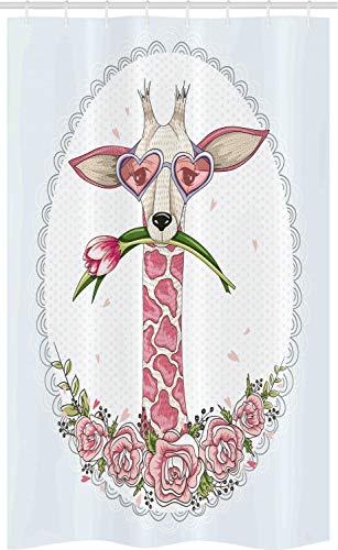 ABAKUHAUS Valentine Schmaler Duschvorhang, Hipster Giraffe, Badezimmer Deko Set aus Stoff mit Haken, 120 x 180 cm, Hellrosa