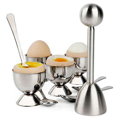 Eierknacker-Aufsatz-Set für weiche, hartgekochte Eier, Trenner, Halter für 4 Löffel und 4 Tassen, 1 Schalen-Entferner, Oberschneider, Edelstahl für Frühstück, Küchenwerkzeug