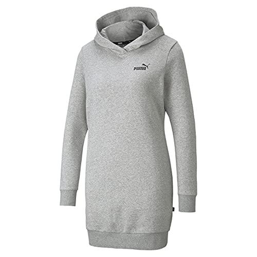PUMA Damen Essentials Hooded Fleece Dress Kleid, Grau-Light Gray Heather, X-Large