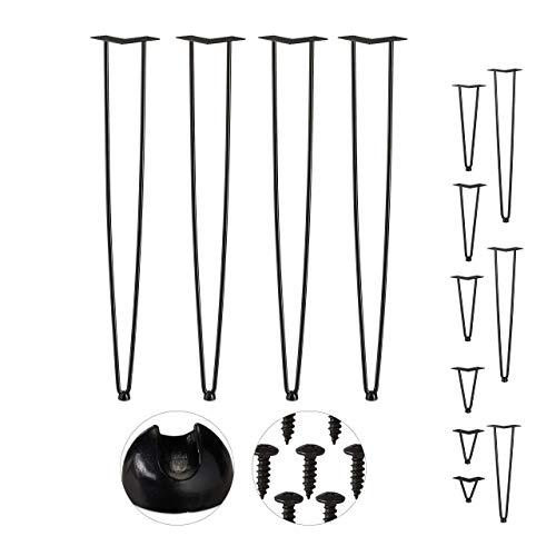 Relaxdays Hairpin Legs, 4er Set, 2 Streben, Metall, Haarnadel Tischbein für Hocker, Tisch & Schrank, 86 cm hoch, schwarz