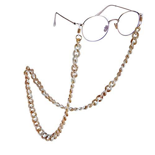 Amaxer Modische Acryl-Sonnenbrillenkette, Brillenhalter, Umhängeband, Brillenzubehör Large Beige