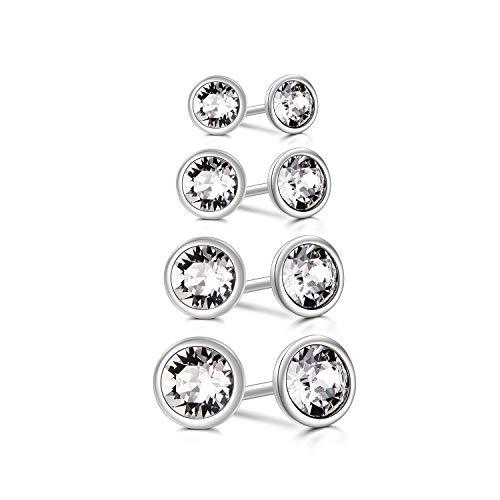 Pendientes hipoalergénicos de plata ley con diamantes imitación cristales Swarovski, 4 pares pendientes tuerca chapados en oro blanco circonitas cúbicas para mujer, tamaño: 3, 4, 5, 6 mm