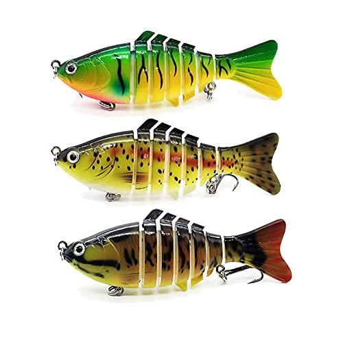Fishing Lures for Bass Trout Walleye Freshwater Saltwater Slow Sinking Bionic Segment Lifelike Fishing Swimming Lures3 Pack