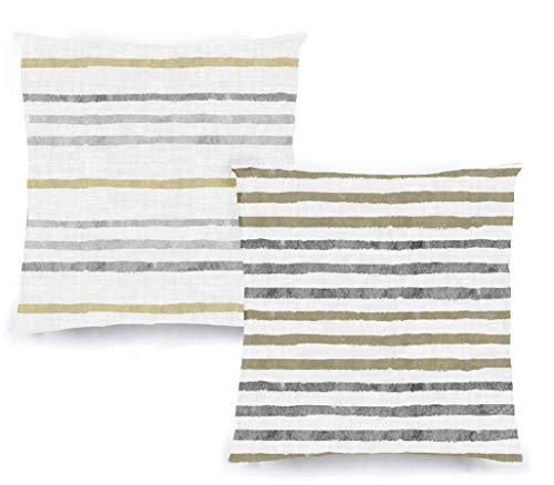 Decoratea Fundas Cojines 50x50 - Fundas de Cojín Decorativo (Juego de 2) para Sofá, Cama, Silla, Salón, Coche. Muy Suaves, Modernas y con Cremallera Invisible (Rayas Grises)