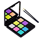 Bowitzki 9 Colors Water Activated Eyeliner Hydra Liner Graphic Cake Aqua Eye Liner Retro Makeup Pastel UV Glow Color Neon Face Body Paint