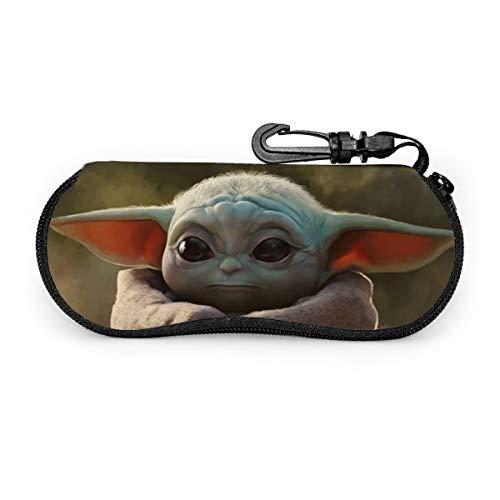 Baby Yoda The Mandalorian Artwork Brillenetui für Damen und Herren, weiches Sonnenbrillen-Etui, ultraleichtes Neopren, Reißverschluss mit Gürtelclip.