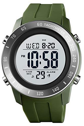 Herren Militärische Sportuhr Digital Armbanduhr Männer Wecker Datum Kalender Stoppuhr 5 ATM Wasserdicht LED Hintergrundbeleuchtung Uhr