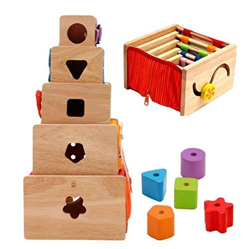 JOKFEICE Cube en Bois Macaron Nesting Puzzle Blocks Jeu d'empilement de 7 pièces Création d'une Puzzle de Correspondance de Formes de Couleurs créatives précoce pour Les Enfants