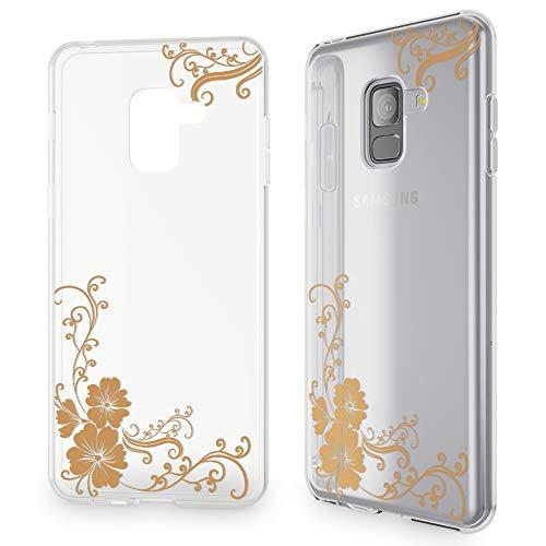 NALIA Hülle kompatibel mit Samsung Galaxy A8 (2018), Slim Handyhülle Motiv Silikon Hülle Cover Crystal Schutzhülle Dünn, Muster Etui Handy-Tasche Backcover Bumper, Designs:Golden Flowers