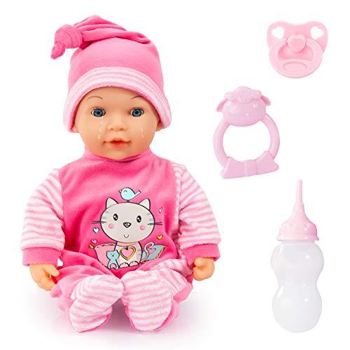 Bayer Design 93809AA Babypuppe, Funktionspuppe Tears Baby, weint Tränen, Macht Babygeräusche, Schlafaugen, 38cm, weicher Körper, mit Zubehör