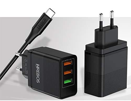 CARREGADOR TURBO TYPE C HREBOS COM CABO TIPO C SAMSUNG S9 S10 S20 A 10 A20 A50 BIVOLT CARREGADOR TURBO 3.1 TYPE-C HREBOS 3 PORTAS USB