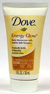 Dove Energy Glow Daily Moisturizer with Subtle Self-tanners for Medium Skin Tones 1 Oz (Pack of 15)