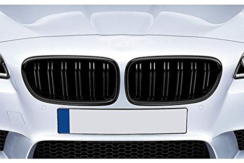 Kompatibel mit BMW F10 F11 F18 Kühler- Sport- Front- Doppel- Rippen- Doppelsteg Grill Schwarz Glanz Eintragungsfrei Set